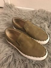 【NEW】Chloé Ivy Scallop Slip-on Sneakers Leather Green Tan size 36