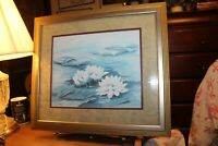 "Dolores Roberson Signed Framed Matted Print ""Lily Pads"" 17"" x 20"""