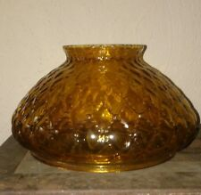 Vintage Amber Glass Hurricane Lamp Shade Diamond Quilted