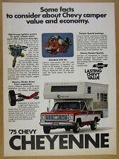 1975 Chevy CHEYENNE 454 V8 Pickup Truck Week-N-Der Camper photo vintage print Ad