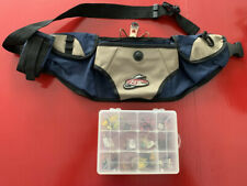 Flw Outdoors Fishing Tackle Box and Storage Belt Stocked With Flies Blue Beige