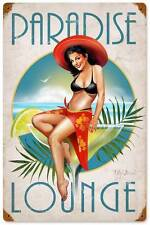 New! Paradise Lounge Pin Up Girl Licensed Retro Metal Sign by Ralph Burch RB049