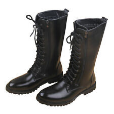 Riding mid calf  Boots Mens Lace Up Knee High Boots PU Leather Zip Black