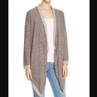 Eileen Fisher Organic Cotton Boucle Stripe Cascading Cardigan Mocha Size M