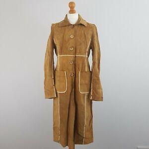 Karen Millen Women's Tan Brown Real Leather Longline Buttoned Overcoat  Size 10