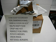"""Economy Foil Bag 1000 Cs. Take Out Carry Out Hot Food Holds Heat 6-3/4 X 6-1/2"""""""