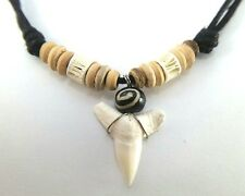 REAL NATURAL SHARK TOOTH NECKLACE PENDANT CHOKER MENS&WOODEN BEAD SURFER ROCK