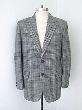 VGC Vtg 70s Gray Blue Beige Check Wool Tweed Blazer Jacket Preppy Sportcoat 42
