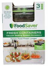 Food Saver Fresh Containers 3 Sizes Works with Foodsaver Vacuum Sealing 3 Count
