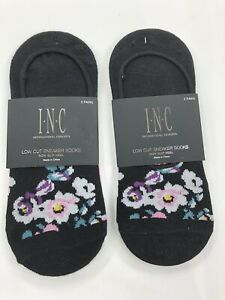 INC International Concepts ONE SIZE Low Cut Sneaker Socks  4-Pairs Black Gray