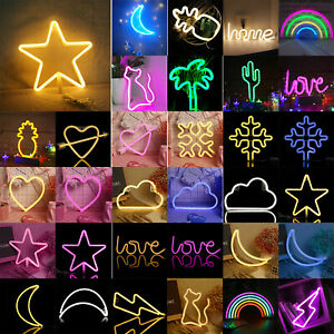 LED Neon Sign Lamp Wedding Party Night Lights Home Decor USB/Battery Power Light