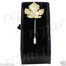 New in box Men's Suit brooch chest metal leaf shape gold lapel pin formal