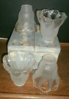 Lot of 4  Frosted Scallop Tulip Glass Light Shades Fan Replacement GLOBES