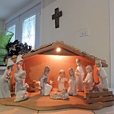 LLADRO CHILDREN'S NATIVITY SET w/ PRAYING ANGEL & LIGHTED MANGER FAST SHIPPING!!