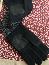ART OF RHETORIC Los Angeles Black Leather Patch Lambswool Gloves SIZE L/LX NWT