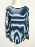 Banana Republic Womens Shirt Top Size S Blue White Striped Boat Neck Long Sleeve
