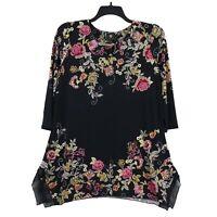 JM Collection Women's 3/4 Sleeve Floral Embellished Tunic Top, Medium, Black