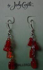 Jody Coyote Earrings JC0831 new hypoallergenic silver beaded dangle orange USA