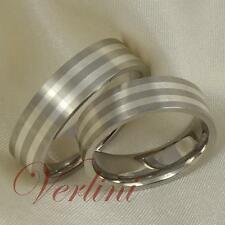 6MM Titanium Rings Set For Men & Women Wedding Bands 925 Silver Inlay Size 6-13