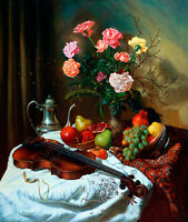 Dream-art Oil painting still life flowers with violin fruits on table canvas 36""