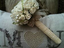 BRIDES POSY VINTAGE BOUQUET IVORY TEA ROSES FEATHERS PEARLS WEDDING FLOWERS