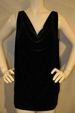 Womens Top Lane Bryant Black Velvet Scoop Neck Satin Back Dressy 14/16 WoT B05
