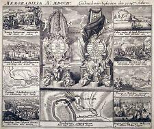 Radierung, Memorabilia 1704 C. Weigel, Gibraltar, Narva,Höchstädt,Polen,Lissabon