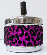 Eclipse Pink Glitter with Leopard Fur, Durable Metal Spin Top Ashtray, ASHSMLP