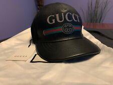 GUCCI Cap Logo in Black Leather