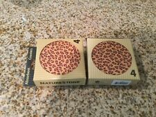 Lot of 8 round ceramic Absorbent leopards print coasters for drinks New Nib