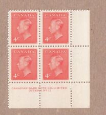 KING GEORGE VI ROYALTY Canada 1951 #306 MNH LR Block of 4 Plate 17