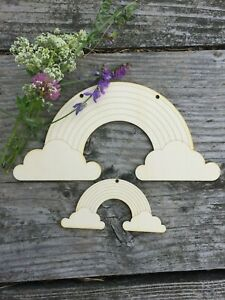 RAINBOW AND CLOUDS  variations of UNPAINTED BLANK WOODEN SHAPES TAGS plywood