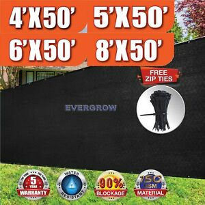 Black 4' 5' 6' 8' tall Fence Windscreen Privacy Screen Shade Cover Mesh Garden