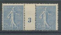 MILLESIME 3 sur Semeuse lignée N°132, 25c. bleu NEUF*, TB COTE 280€ P1341