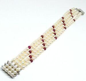 4 reihiges akoya Perlen Armband mit Rubin Elementen 585 Gold Verschluss /Schmuck