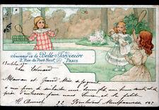ENFANTS / JEU de VOLANT RAQUETTE / ART NOUVEAU illustrée BELLE JARDINIERE 1903
