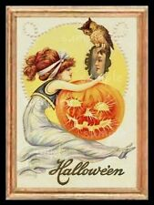 Halloween Victorian Scene With Pumpkin And Owl Miniature Dollhouse Picture