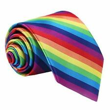 Skinny Rainbow Tie Wedding Slim Gay Pride Fancy Dress LGBT Party Mardi Gras