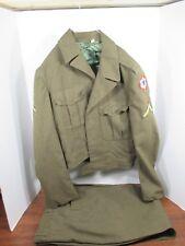 Vintage 1953 Wool Military Jacket with Trousers Mens Original J3