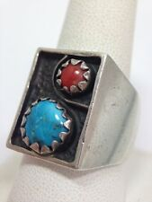 Vintage Mexican Turquoise Coral Shadowbox Ring Size 10 Sterling Silver Shadow...