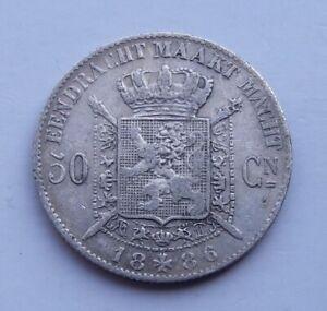 Belgique 50 centimes 1886 argent
