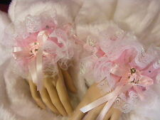 SISSY PINK SEQUIN LACE WRIST CUFFS LOLITA FANCY DRESS OPT BELLS KAWAII COSPLAY