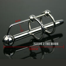 80mm Two Rings Through-hole Male Stainless Steel Penis Urethral Plug Sounds HOT