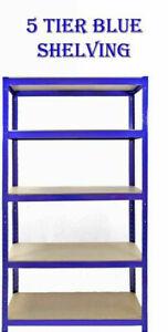 Heavy Duty Metal Storage 5Tier Shelving Boltless Racking Shelf S247.