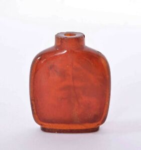 19th Century Chinese Natural Cognac Honey Amber Carved Carving Snuff Bottle