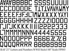 "RAF Numbers and Letters 21"" water slide transfers WW11  BLACK  1/48  FP885 BLACK"