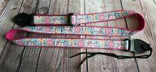 "Ukulele 1"" strap  - Pink Summer Flowers"