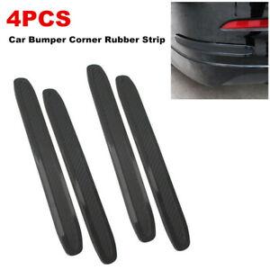 4Pc Universal Car Carbon Fiber Bumper Corner Rubber Strip Anti-scratch Protector