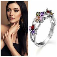Woman Jewelry Silver Natural Rhinestone Tanzanite Ruby Topaz Peridot Ring Hot