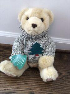 "NEW Hallmark Trevor Teddy Plush Bear with Christmas Tree Sweater 13"" tall SOFT"